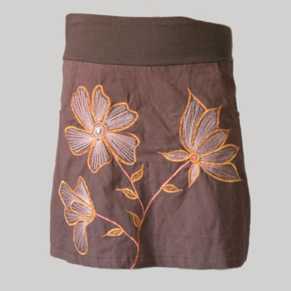 A-line skirt hand loom cotton with flower embroidery stitches