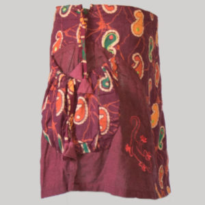 Women's a-line skirt with printed patches & embroidery stitches (Maroon)