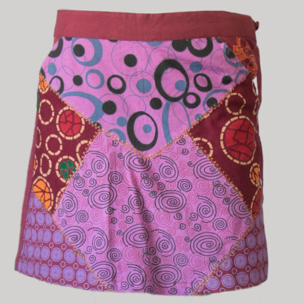 Women's a-line skirt with printed patches (Purple)