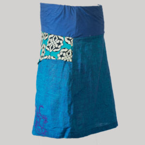 A-line skirt hand loom printed and embroidery stitches