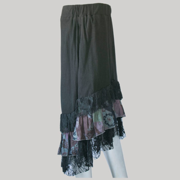 Mullet skirt with jersey cotton & printed net side