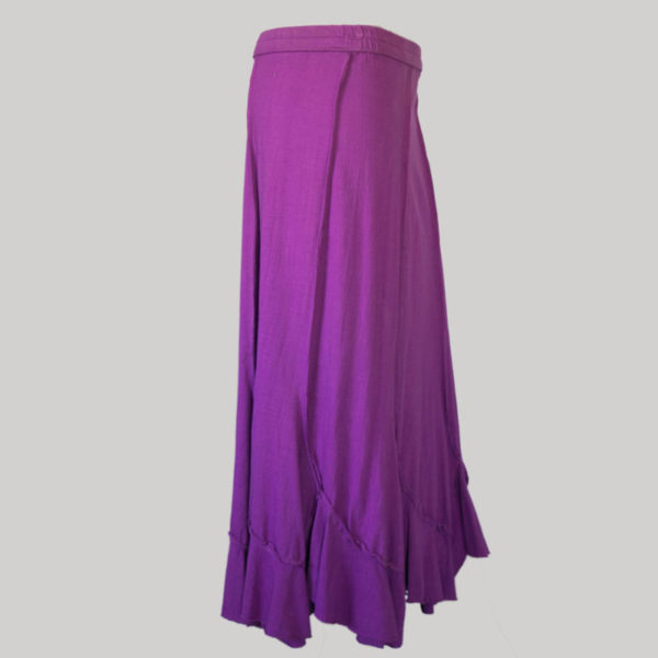Midi skirt jersey cotton long panel patch side