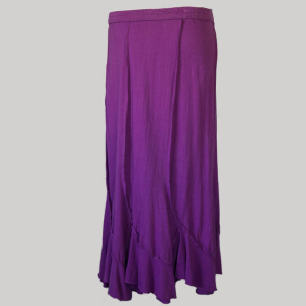 Midi skirt jersey cotton long panel patch back