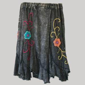 Gore skirt jersey cotton long panel print black front