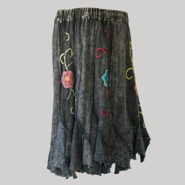Gore skirt jersey cotton long panel print black side