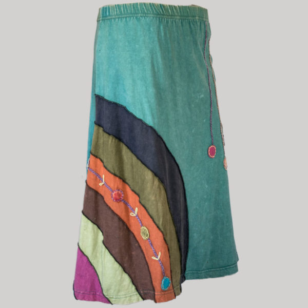 Gap midi wrap skirt jersey cotton mix panel hand work with stone wash side
