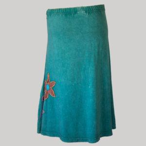 Gap midi wrap skirt jersey cotton mix panel hand work with stone wash back