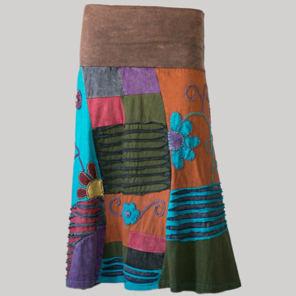 Gap midi wrap skirt with multi color patches (Brown) front