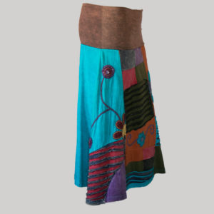 Gap midi wrap skirt with multi color patches (Brown) side