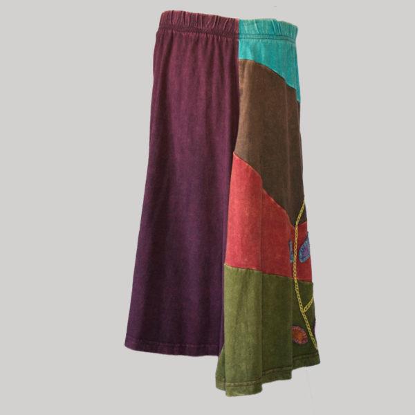 Asymmetrical razor cut gap midi wrap skirt (Purple) side