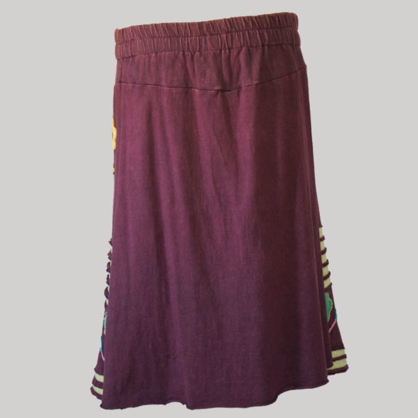 Asymmetrical patches gap midi wrap skirt (Maroon) back
