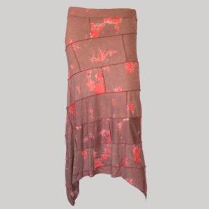 Midi skirt mix patches ti-dye (Maroon) front