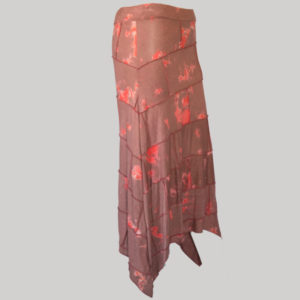 Midi skirt mix patches ti-dye (Maroon) side