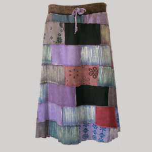 Asymmetrical mix patches gap midi wrap skirt front