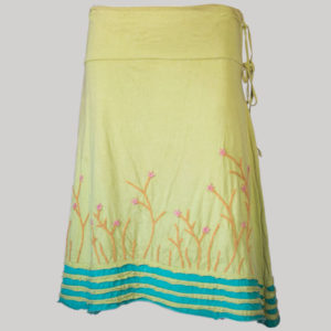 Gap midi wrap skirt with asymmetrical razor cut patches and embroidery (Yellow) front