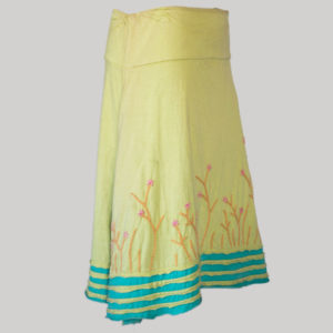 Gap midi wrap skirt with asymmetrical razor cut patches and embroidery (Yellow) side