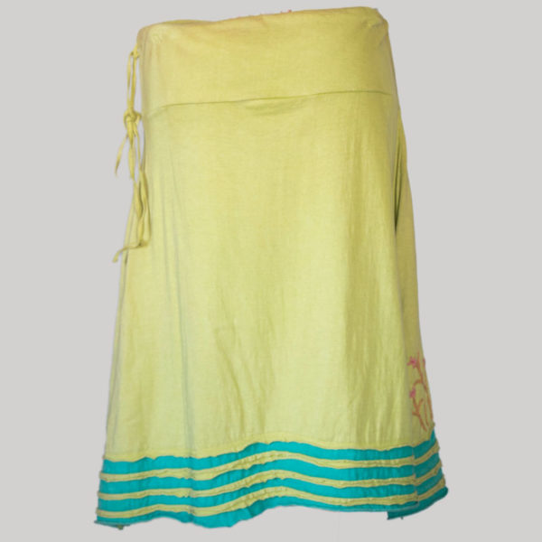 Gap midi wrap skirt with asymmetrical razor cut patches and embroidery (Yellow) back