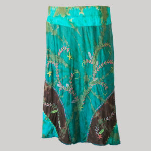 Embroidery stitches gap midi wrap skirt (Teal) front