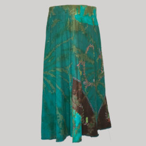 Embroidery stitches gap midi wrap skirt (Teal) side