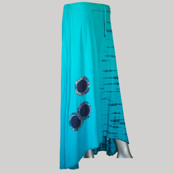 Embroidery stitches gap midi wrap skirt (Sky Blue)