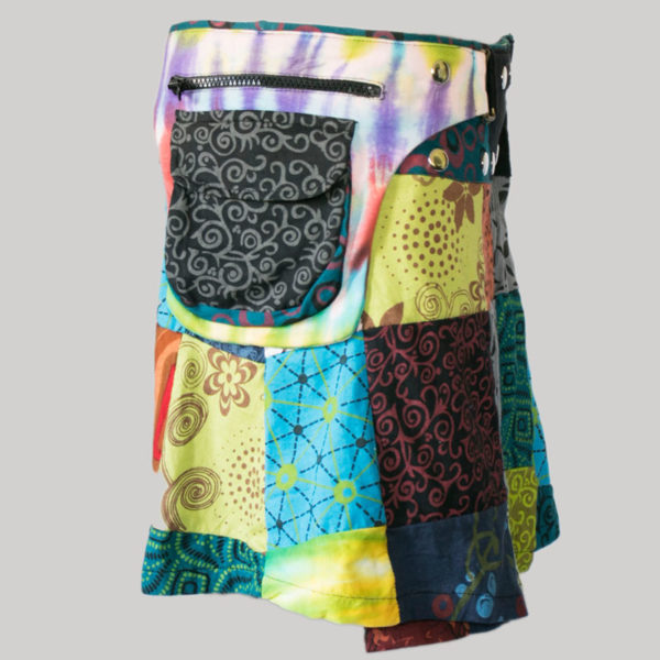 A-line skirt jersey printed patches with belt side