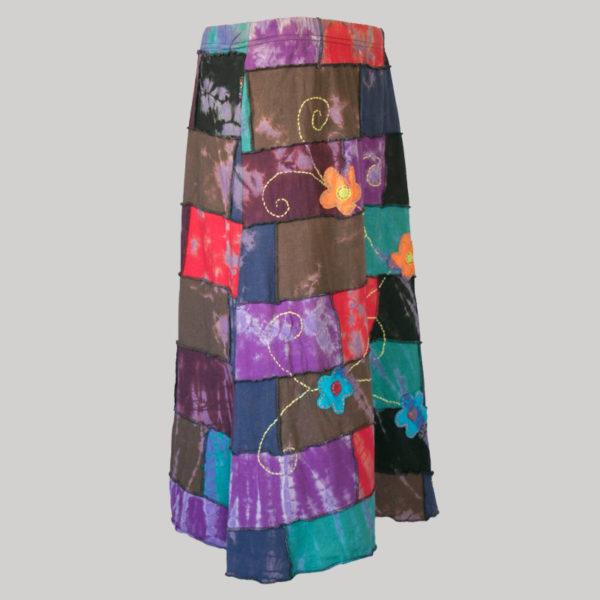 Asymmetrical mix patches gap midi wrap skirt side