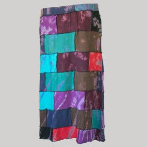 Asymmetrical mix patches gap midi wrap skirt back