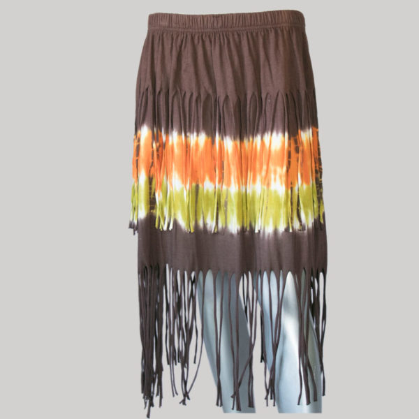 Aline skirt with fringes ti-dye (Brown) front