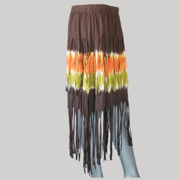 Aline skirt with fringes ti-dye (Brown) side