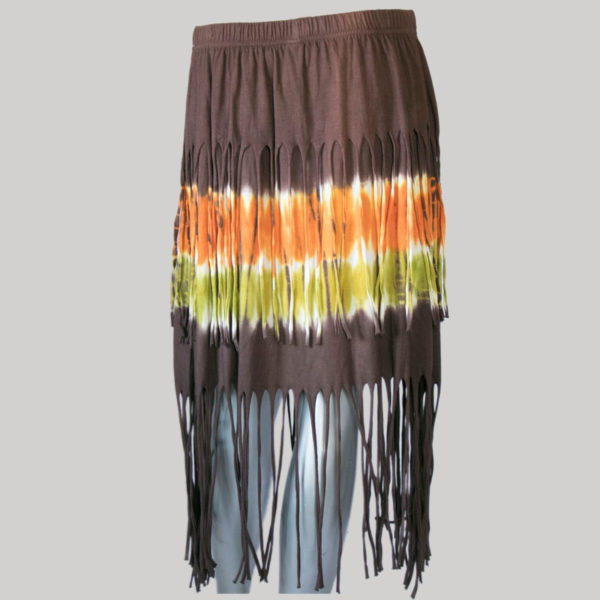 Aline skirt with fringes ti-dye (Brown) back
