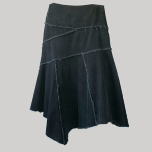 Handkerchief skirt cut-rise with asymmetrical patches (Black) front