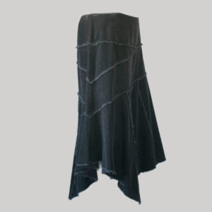 Handkerchief skirt cut-rise with asymmetrical patches (Black) side