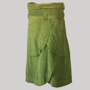 Gap midi wrap skirt cut-rise gather with belt (Olive Green) back