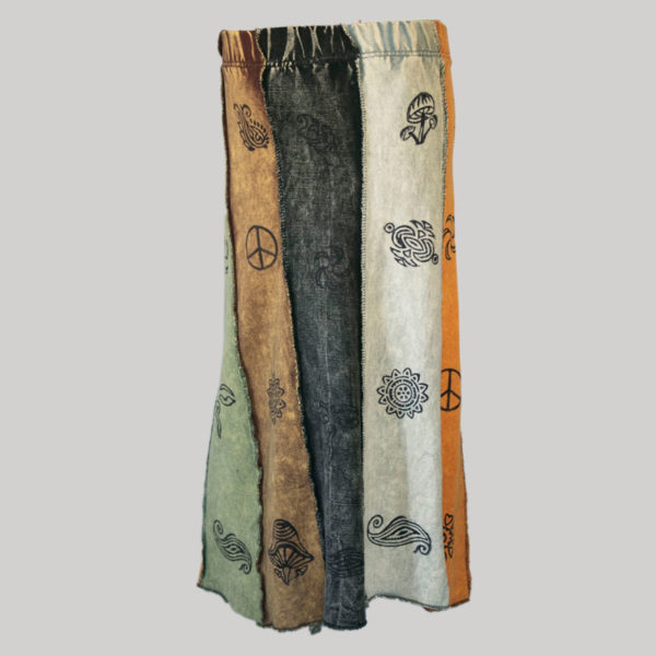 Gypsy skirt with printed panel patches stone wash front