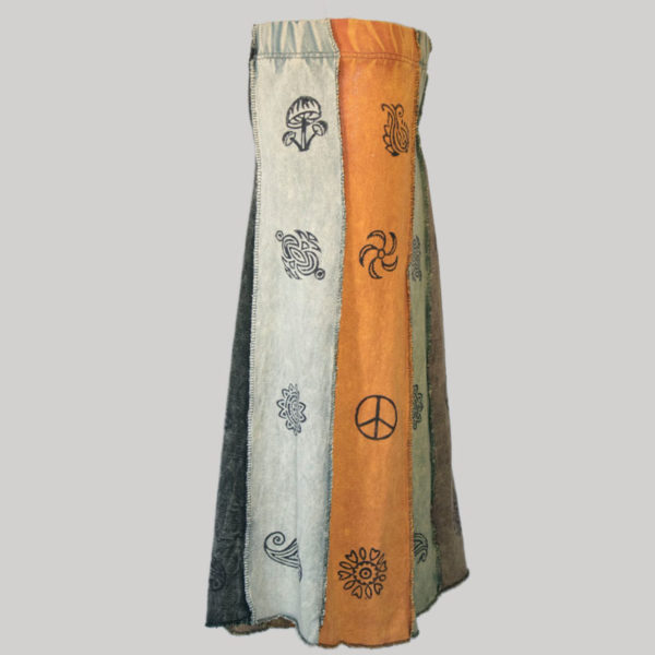 Gypsy skirt with printed panel patches stone wash side