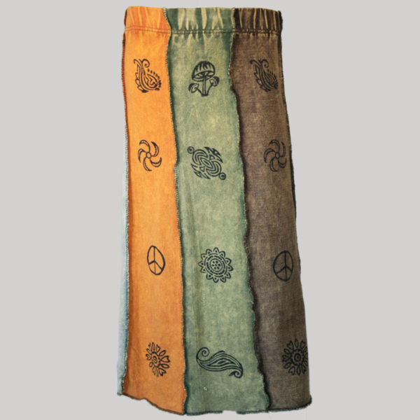 Gypsy skirt with printed panel patches stone wash back