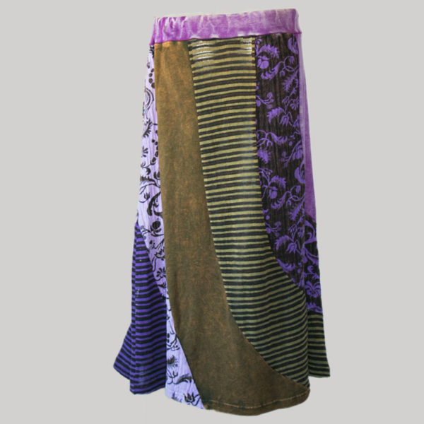 Gypsy skirt with printed mix panel patches stone wash front