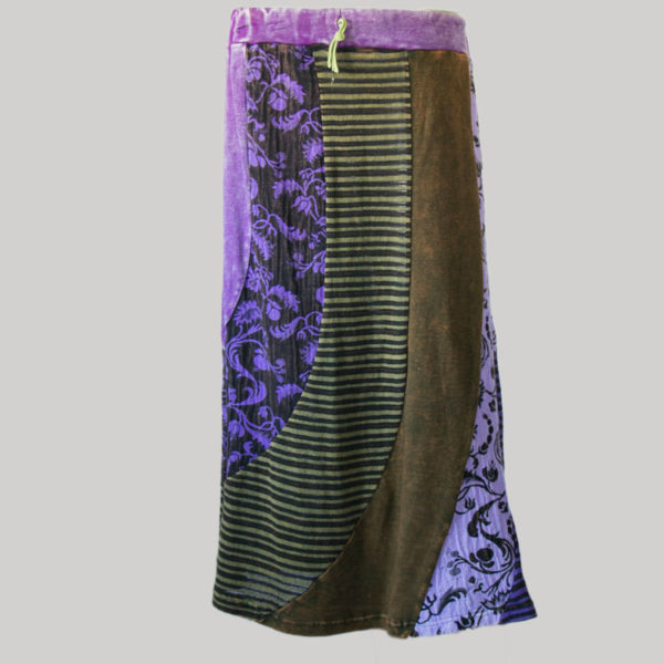 Gypsy skirt with printed mix panel patches stone wash back