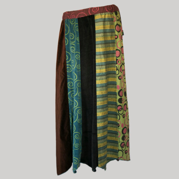 Printed mix panel patches gypsy skirt stone wash front