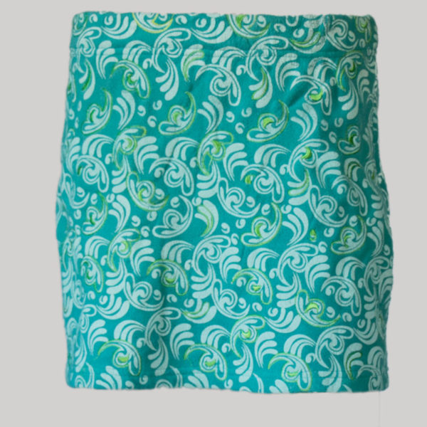 Aline skirt printed polar fleece with embroidery stitches (Teal) front