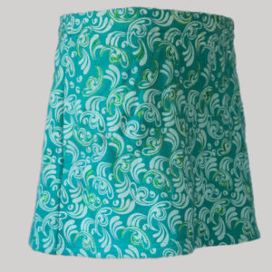 Aline skirt printed polar fleece with embroidery stitches (Teal) side