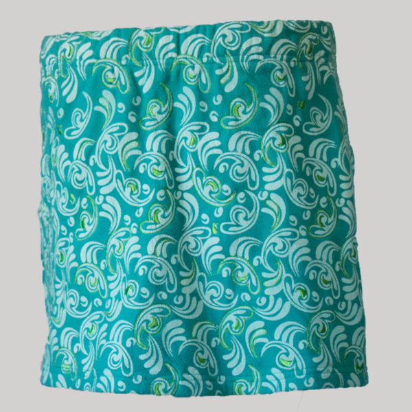 Aline skirt printed polar fleece with embroidery stitches (Teal) back
