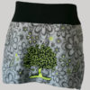 A-lined skirt polar fleece with embroidery stitches (Grey) front