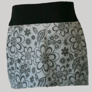 A-lined skirt polar fleece with embroidery stitches (Grey) back