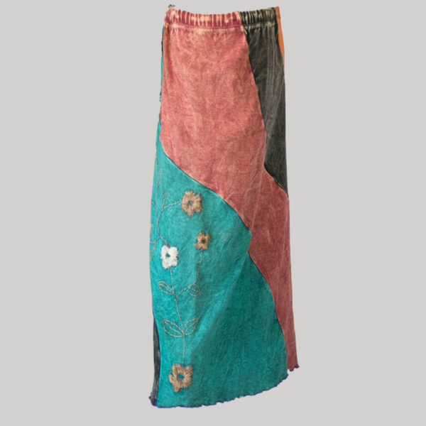Gypsy skirt with asymmetrical printed panel patches stone wash side