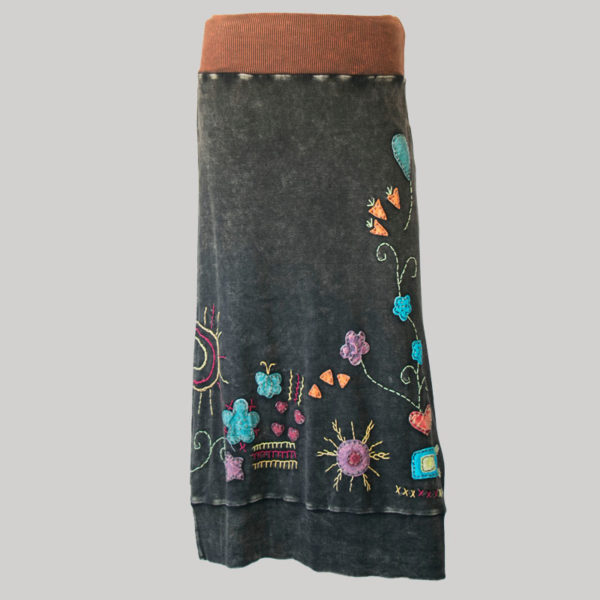 Gypsy rib cotton with hand work and stone wash (Black) front