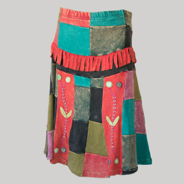 Mix patches gypsy rib skirt with hand work front