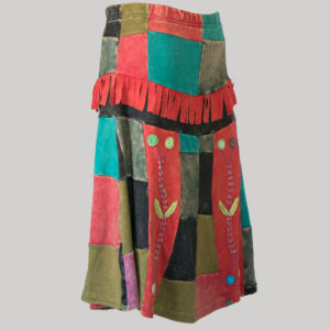 Mix patches gypsy rib skirt with hand work side