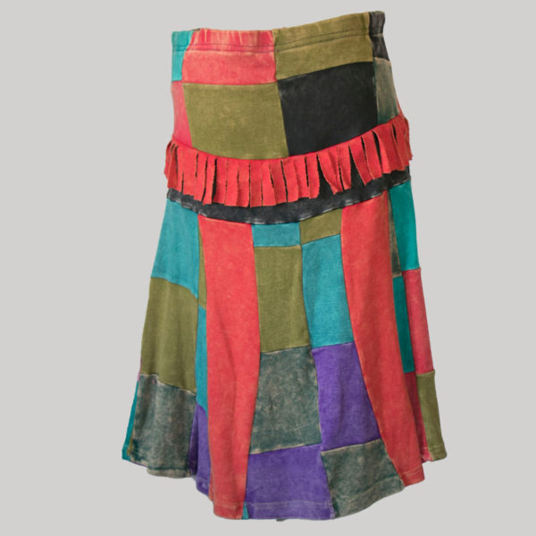 Mix patches gypsy rib skirt with hand work back