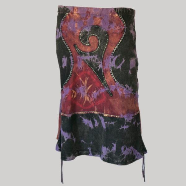 Gypsy rib skirt with ti-dye back